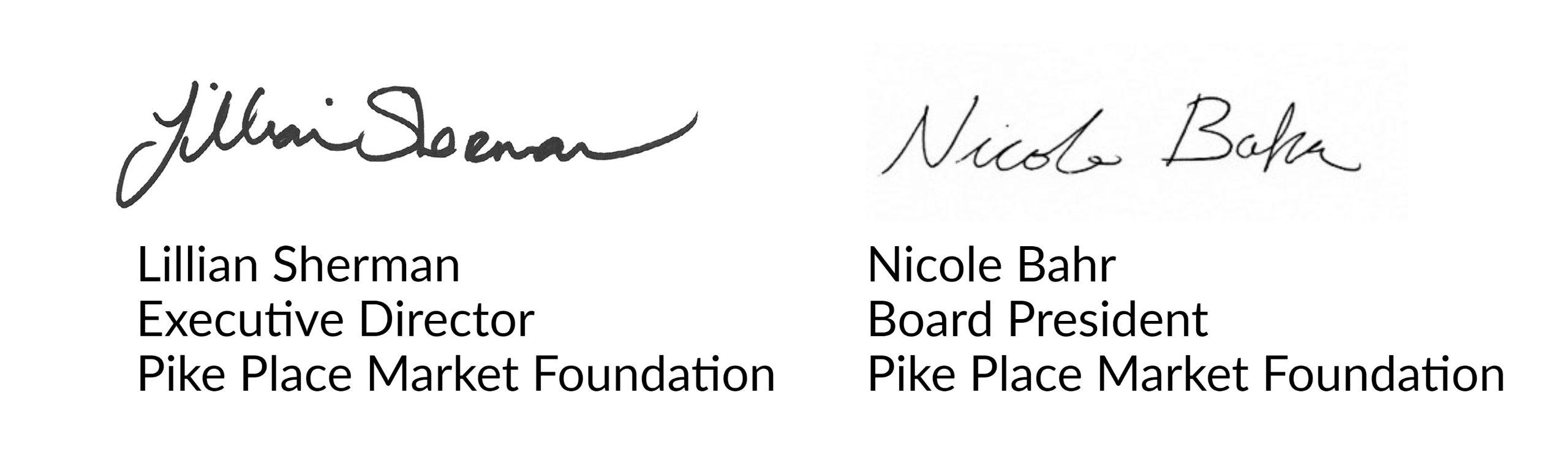Lillian and Nicole signatures
